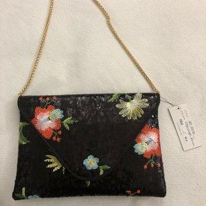 Sondra Roberts Black/orange fold-over beaded bag